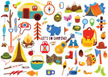 Big Set Of Camping Elements An...