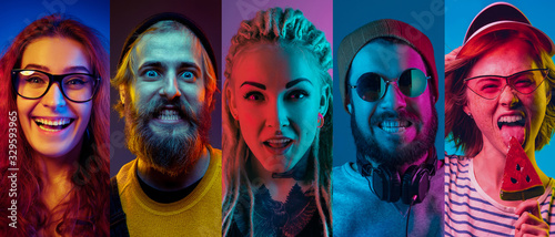 Collage of portraits of young emotional people on multicolored background in neon light. Concept of human emotions, facial expression, sales. Smiling, listen to music, happy. Flyer for ad, proposal.