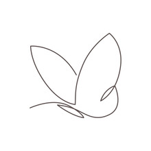 Butterfly Continuous Line Vector Illustration. Butter Fly Made With Single Editable Path.