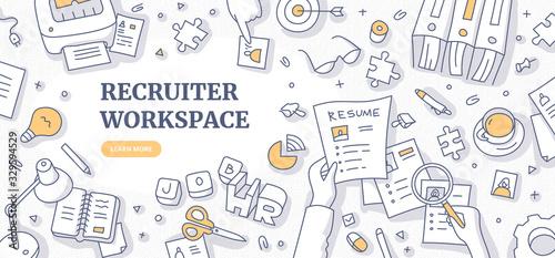Fotografía Recruiter Workspace Doodle Concept