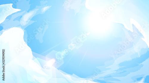 Fotografiet 青空と太陽の背景イラスト_16:9