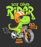 Fototapeta Dinusie - Dinosaur riding a motorbike vector print design