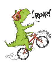 Dinosaur On Bicycle. Vector Sh...