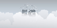 5G Network Label With Wirefram...