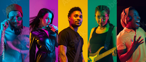Obraz Collage of portraits of young emotional talented musicians on multicolored background in neon light. Concept of human emotions, facial expression, sales. Playing guitar, singing, dancing. - fototapety do salonu