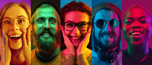 Fototapeta Collage of portraits of young emotional people on multicolored background in neon. Concept of human emotions, facial expression, sales. Smiling, listen to music with headphones. Flyer for ad, proposal obraz