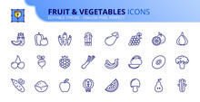 Simple Set Of Outline Icons About  Fruit And Vegetables. Healthy Food