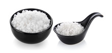 Salt In A Bowl On White Backgr...