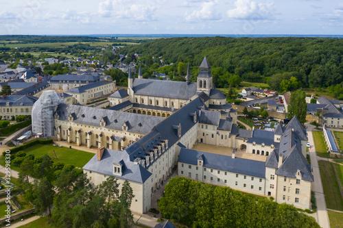 Aerial view of Abbey of Fontevraud, Anjou, Fontevraud l'Abbaye, Maine-et-Loire d Wallpaper Mural