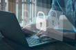 canvas print picture - cyber security concept, data protection and secured internet access, cybersecurity