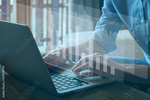 Fototapeta financial charts, business analytics and intelligence concept,  analysys of ROI and finance performance of company obraz