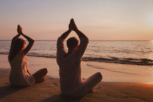 Yoga On The Beach, Couple Silh...