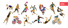Olympic Games! Vector Illustration Of Different Athletes: Hockey, Basketball, Volleyball, Tennis, Runner, Cycling, Gymnastic, Players, Sportsman. Set Of Character Design For Card, Background Or Poster