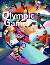 Olympic Games! Vector Illustration Of 2020 Summer And 2022 Winter Games. Olympic Athletes Hockey Player, Basketball, Cycling, Volleyball, Skiing. Design Template For Card, Poster, Postcard, Banner