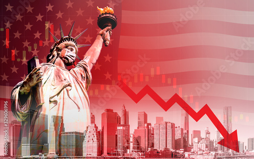 Photo Concept of economic recession during the coronavirus outbreak in United States,