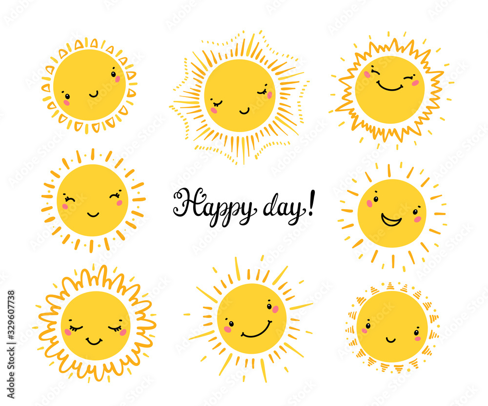 Fototapeta Cute Kawaii Sun Icon Vector Set. Hand Drawn Doodle Different Funny Happy Suns. Happy day