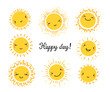 Cute Kawaii Sun Icon Vector Set. Hand Drawn Doodle Different Funny Happy Suns. Happy day