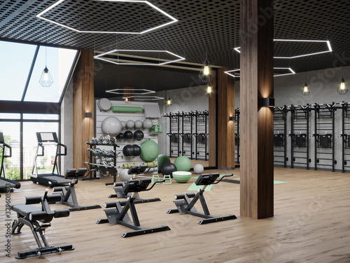 Obraz Modern gym interior with sport and fitness equipment, fitness center inteior, inteior of crossfit and workout gym, 3d rendering - fototapety do salonu
