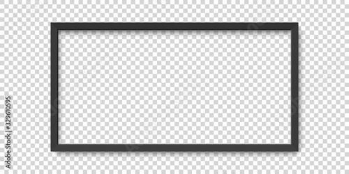 Fototapeta Realistic horizontal black picture frame isolated on transparent background. obraz