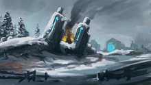 Digital Painting Of A Snowy Sc...