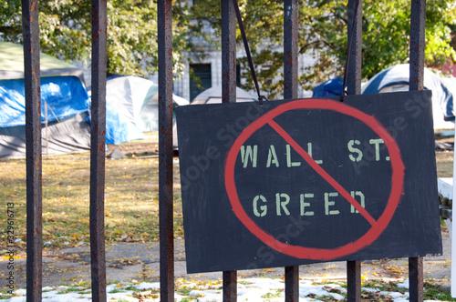 Fototapeta Occupy Wall Street Protest Sign & Homeless Tent City obraz