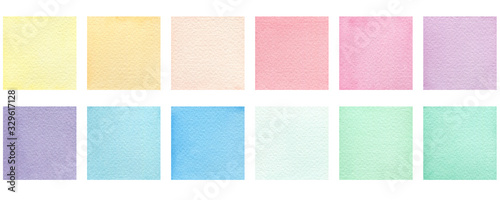 Obraz set of watercolor colorful squares isolated on white, pastel colored square design element for poster, invitation, frame or card - fototapety do salonu