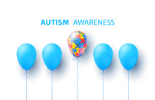 World Autism Awareness Day. Blue, Colorful Puzzles, Balloon, Vector Background. Symbol Of Autism. Medical Flat Illustration. Health Care