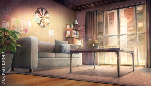 Cozy living room - Afternoon , Background painting  - 329620387