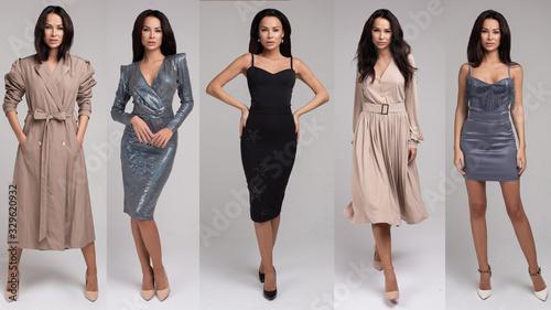 Obraz na plátne Collage of fashionable female model posing in different evening dress full length