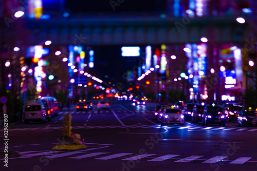 A night neon street at the downtown in Akihabara Tokyo long shot Wallpaper Mural