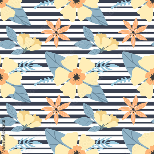 Seamless floral pattern with bright hawaiian flowers on black stripes. Yellow flowers print for textile, clothes, apparel. Vector illustration EPS 10