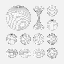 Wireframe Earth Grid Mesh Obje...