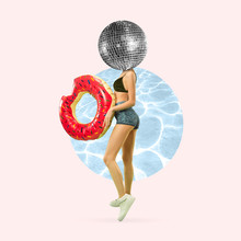 Ready For Swimming. Fit Female Body Headed By Big Disco Ball On Pool Background. Copyspace. Modern Design. Contemporary Artwork, Collage. Concept Of Summertime, Vacation, Resort, Mood, Beach Season.