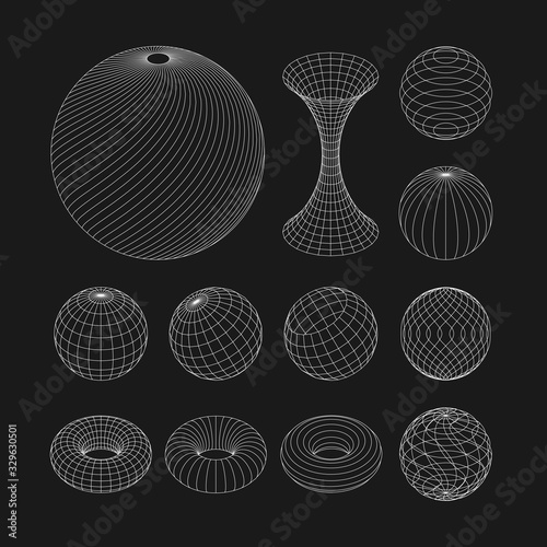 Foto Wireframe earth grid mesh objects set