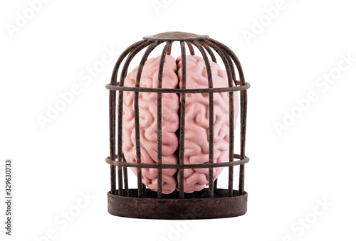 Photo Human brain trapped in old rusty cage isolated on white