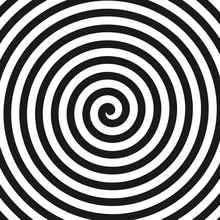 Concentric Lines. Spiral. Volute. Hypnosis Circular Rotating Background. Vector Illustration.