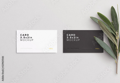 Obraz Business Cards with Olive Branch Mockup - fototapety do salonu