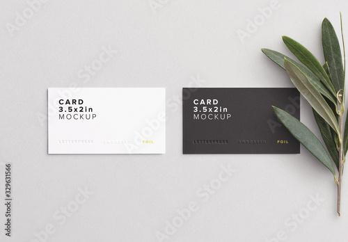 Fototapeta Business Cards with Olive Branch Mockup obraz