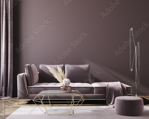 Fototapeta Modern home interior background, wall mockup, 3D render obraz