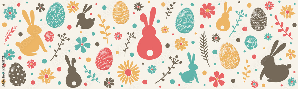 Fototapeta Colourful easter banner with bunnies, eggs and flowers. Vector