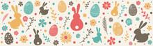 Colourful Easter Banner With Bunnies, Eggs And Flowers. Vector