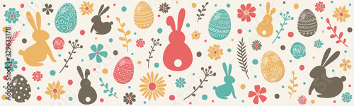 Photo Colourful easter banner with bunnies, eggs and flowers. Vector
