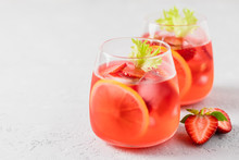 Summer Iced Strawberry Lemon Infused Water Cocktail. Selective Focus, Space For Text.