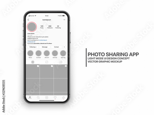 Instagram Photo Sharing Mobile App UI and UX Concept Vector Mockup in Light Mode on Frameless Smart Phone iPhone Screen Isolated on White Background Canvas-taulu