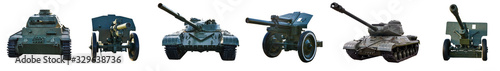 Photo Collage of old military equipment tanks and artillery guns on an isolated white