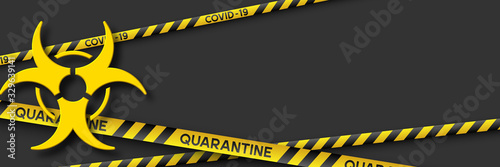 Warning coronavirus quarantine banner with yellow and black stripes and 3d infection symbol Canvas Print