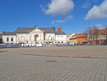 KLAIPEDA, LITHUANIA. Theater Square And Drama Theater On A Spring Day.