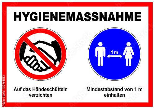 Photo ds29 DiskretionSchild - ks536 Kombi-Schild - german text: Hygienemassnahme / Auf das Händeschütteln verzichten - Mindestabstand von 1 m einhalten - distance