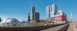 Rotterdam, The Netherlands, march 2020: panoramic view of the Rotterdam skyline at the Rijnhaven, Luxor Theater and Erasmus bridge