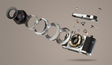 Disassembled Camera With Piece...
